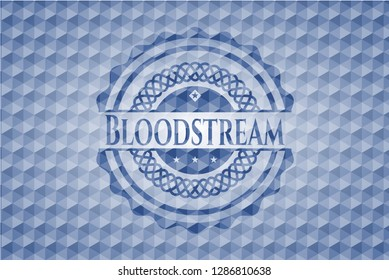 Bloodstream blue emblem or badge with abstract geometric polygonal pattern background.