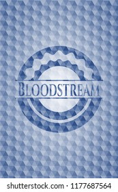 Bloodstream blue emblem or badge with geometric pattern background.