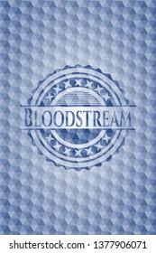 Bloodstream blue polygonal badge.
