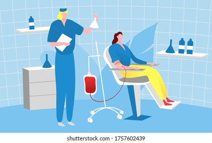 Bloodstream donor people, character doctor male take blood female patient flat vector illustration. Design medical examination room. Hospital chairs therapeutic gratuitous healer, study body fluid.