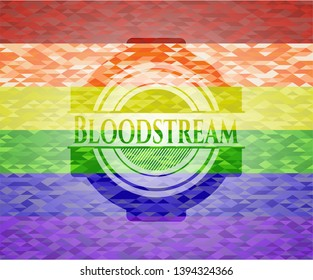 Bloodstream emblem on mosaic background with the colors of the LGBT flag