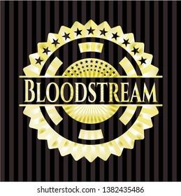 Bloodstream golden emblem or badge. Vector Illustration. Detailed.