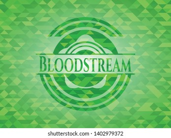Bloodstream green emblem. Mosaic background. Vector Illustration. Detailed.