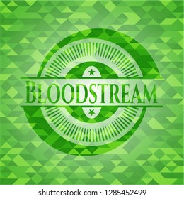 Bloodstream green emblem with mosaic ecological style background