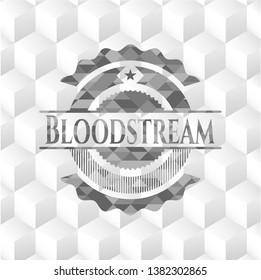 Bloodstream grey emblem. Vintage with geometric cube white background