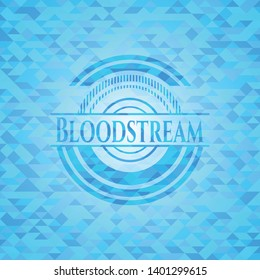 Bloodstream light blue emblem with triangle mosaic background