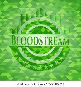 Bloodstream realistic green emblem. Mosaic background