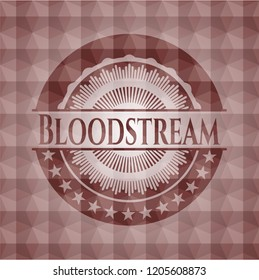 Bloodstream red emblem or badge with abstract geometric pattern background. Seamless.