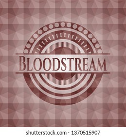 Bloodstream red seamless emblem with geometric pattern.