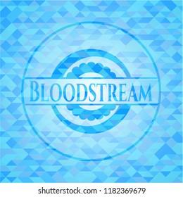Bloodstream sky blue emblem. Mosaic background