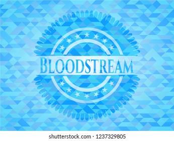 Bloodstream sky blue emblem with triangle mosaic background