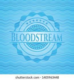 Bloodstream sky blue water style emblem. Vector Illustration. Detailed.