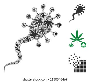 Bloodsucker mosaic of marijuana leaves in different sizes and color hues. Vector flat marijuana leaves are composed into bloodsucker shape. Narcotic vector illustration.