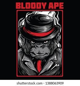 Bloody Ape Red Mafia Illustration