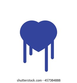 Bloody Blue Broken Heart Vector Outline Graphic Icon, can be use in t-shirt, bag, app, website, and other graphic element.