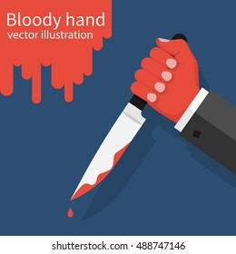 Bloody hand holding a knife with dripping blood. Vector illustration flat design. Isolated on background. Killer, thug, butcher.
