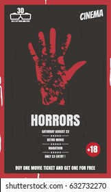 Bloody handprint. Vector illustration. A poster for the movie. Poster of horror films, poster design