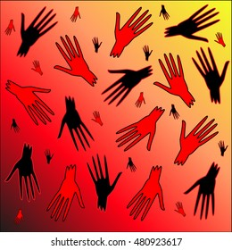 Bloody hands. The pattern of the bloody zombie hands for the Halloween holiday.