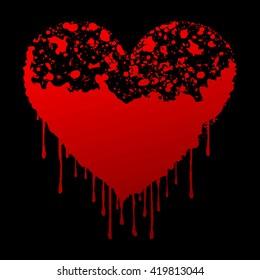 Bloody heart symbol on black background, 3D illustration
