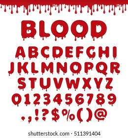 Bloody latin alphabet, abc. Vector font set with blood drop or red liquid. Wet numbers and letter symbols in halloween horror style. Scary text isolated on white background.