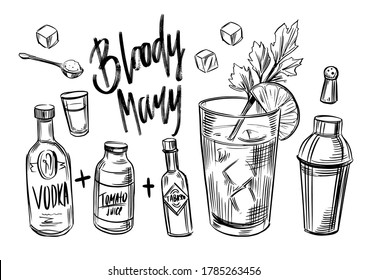 Bloody Mary. Alcohol coctail. Black outline on transparent background