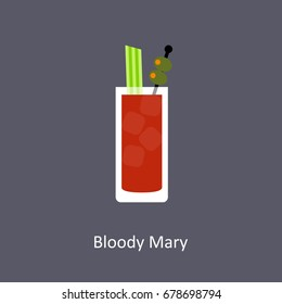 Bloody Mary cocktail icon on dark background in flat style. Vector illustration