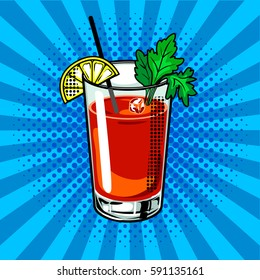 Bloody mary cocktail pop art hand drawn vector illustration.