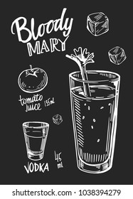 Bloody mary cocktail. Vector illustration