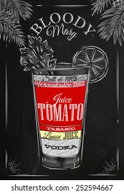 Bloody mary cocktail in vintage style drawing with chalk on blackboard