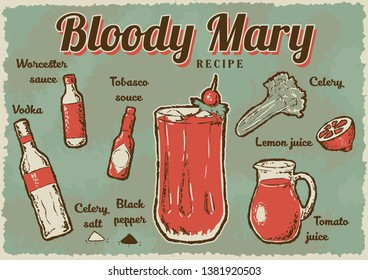 Bloody Mary recipe. Retro Bloody Mary drink poster. Vector illustration.