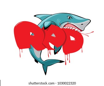 bloody red letters and hungry shark