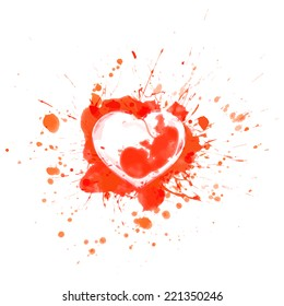 Bloody red splashes and sports heart with human embryo inside  - vector illustration