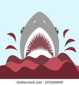 Bloody shark with open mouth. On the red waves Vector illustration in flat cartoon style
