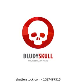 Bloody skull logo for business company. Simple Bloody skull logotype idea design. Corporate identity concept. Creative Bloody skull icon from accessories collection.