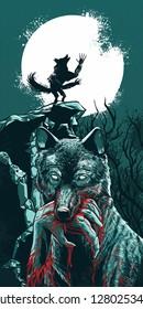 Bloody warewolf vector illustration for skatboard, longboard or poster design halloween theme.