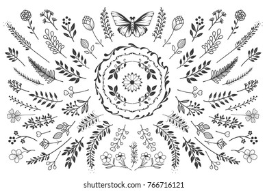 Bloom collection. Set of hand-drawn flowers, branches and leaves. Nice to combine among themselves and to create your own unique design.
