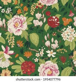 Bloom. Vintage floral seamless pattern. Spring flowers. Green