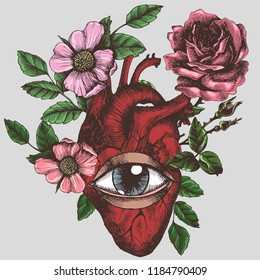 Blooming anatomical human heart with eye. Vector hand-drawn illustration in vintage style. Design for your tattoo, logo or other.