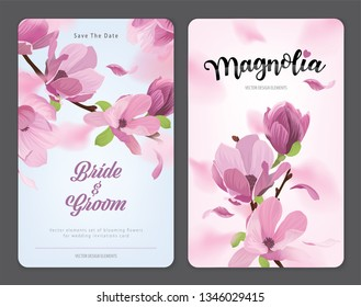 Blooming beautiful magnolia flowers background template. Vector set of blooming floral for wedding invitations, greeting card, voucher, brochures and banners design.
