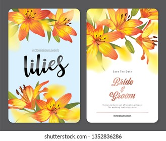 Blooming beautiful orange lily flowers background template. Vector set of blooming floral for wedding invitations, greeting card, voucher, brochures and banners design.