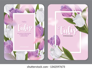 Blooming beautiful purple and white tulip flowers background template. Vector set of blooming floral for wedding invitations, greeting card, voucher, brochures and banners design.