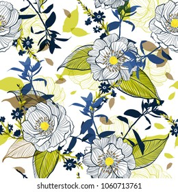 Blooming Botanical  Beautiful hand drawing line Floral seamless pattern  Motifs random  vector texture.  for fashion fabric and all  Printing with in sketch free hand style on white background.
