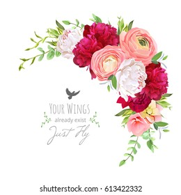 Blooming bouquet floral vector frame with ranunculus, peony, rose, green plants on white. Pink, burgundy red and white flowers. Crescent shape bouquet. All elements are isolated and editable