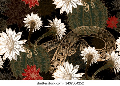 Blooming cacti and snakes. Print gold foil on black background. Floral seamless pattern. Template for fabrics, textiles, wallpaper, paper. Vector illustration art. Exotic luxury nature ornament.