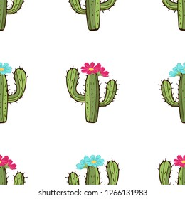 Blooming cactus seamless pattern, hand drawing, vector illustration. Painted green peyote with spikes and pink and blue flower buds on white background. For fabric design, cloth, wallpaper, decorating