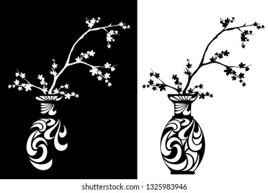 blooming cherry tree branches in a traditional japanese vase - sakura blossom black and white vector design set