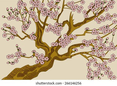 Blooming cherry. The vector illustration of blooming cherry with pink flowers.