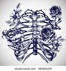 Blooming chest with roses, wild rose and peony. Unusual vector hand drawn illustration for your design.