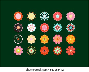 Blooming colored icon set. Stylized bright summer or spring flowers, floral design elements. Vector illustration in style of 70's