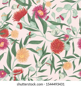 Blooming eucalyptus vector seamless pattern. Gum-tree stems and burgeons colorful texture. Exotic evergreen blossoming plant drawing. Fabric, textile, wallpaper, wrapping paper design.